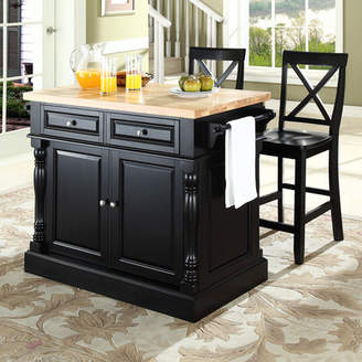 Co Darby Home Lewistown 3 Piece Kitchen Island Set with Butcher Block Top