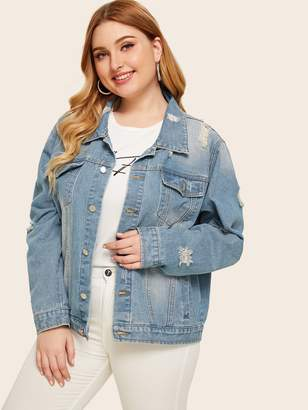 Shein Plus Button Front Ripped Pocket Washed Denim Jacket