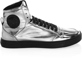Versace Leather High-Top Sneakers