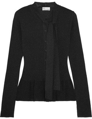 REDValentino - Metallic Ribbed-knit Peplum Cardigan - Black $595 thestylecure.com