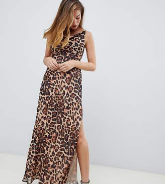 Asos DESIGN Petite bias cut leopard print cami maxi dress with drape neck