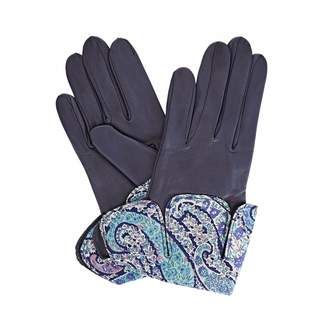 Gizelle Renee - Palesa Navy Leather Gloves With BC Liberty Tana Lawn