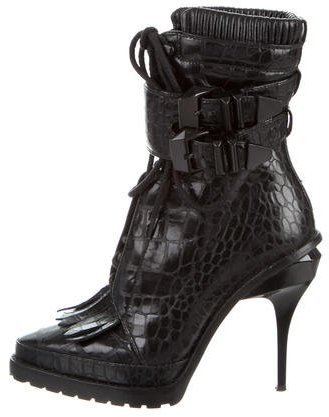 Alexander WangAlexander Wang Embossed Lace-Up Ankle Boots