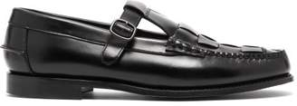 Hereu - Soller Woven Vamp Leather Shoes - Mens - Black