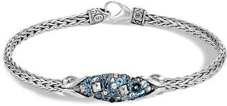 John Hardy Sterling Silver Classic Chain Slim Link Bracelet with Multi-Stone Station