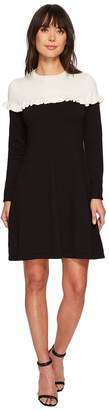 CeCe Long Sleeve Color Block Sweater Dress w/ Ruffle Women's Dress