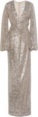 Pamella Roland Ballon Sleeve Sequin Gown