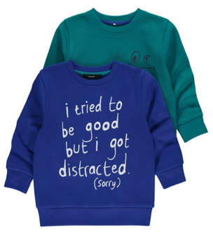 George Blue Slogan Crew Neck Sweaters 2 Pack
