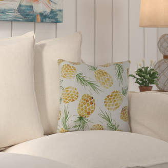 Beachcrest Home Thirlby Tossed Pineapples Outdoor Throw Pillow