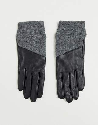 Asos Design DESIGN leather gloves with rib cuffs and touch screen in black and gray