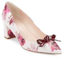 Kate Spade Madelaine Leather Floral-Print Pointy-Toe Pumps