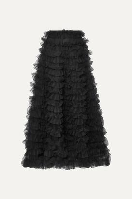 033f5e5562 Valentino Tiered Ruffled Chiffon Maxi Skirt - Black