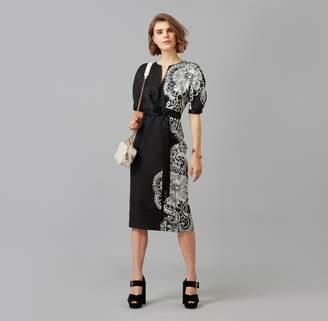 Amanda Wakeley Fitted Rose Gold Sheer Cloque Jacquard Dress