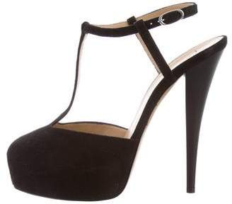 Giuseppe Zanotti Suede T-Strap Sandals