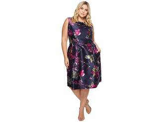 Tahari ASL Plus Size Mikado Floral Print Sleeveless Tea Length Women's Dress