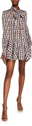 Alexis Maika Drop-Waist Short Tie-Neck Dress