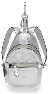 Fendi Mini Leather Backpack Charm - Silver