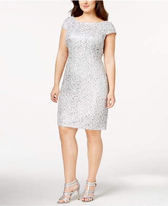 Adrianna Papell Plus Size Sequined Lace Shift Dress $209 thestylecure.com