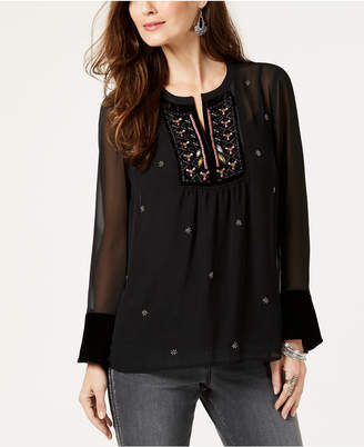 Style&Co. Style & Co Embroidered-Bib Beaded Blouse