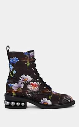 Nicholas Kirkwood Women's Casati Silk Satin Combat Boots - Perfection