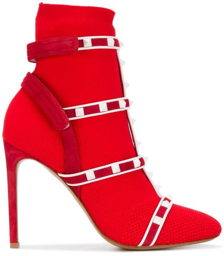 Valentino Garavani Rockstud Bodytech knit ankle boots