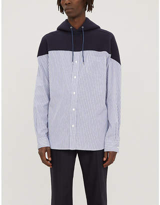 Sacai Cotton and nylon-blend and cotton-jersey hooded shirt