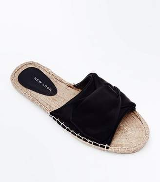 New Look Black Satin Knot Strap Espadrille Sliders