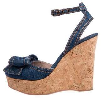 RED Valentino Denim Wedge Sandals