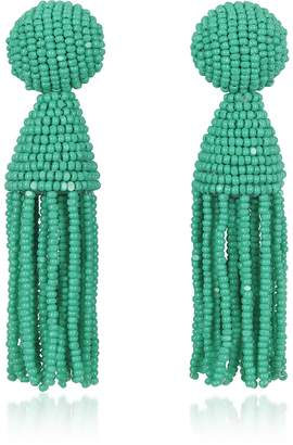 Oscar de la Renta Short Beaded Clip-On Tassel Earrings