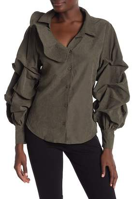 CQ by CQ One Side Ruffle Neck Gather Puff Sleeve Button Down Blouse