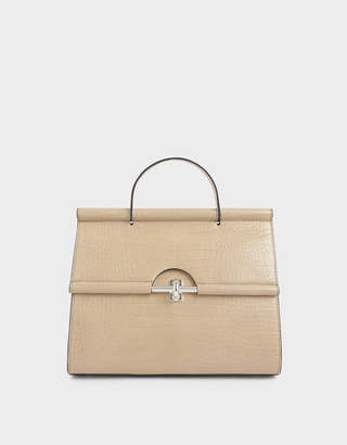 Charles & Keith Croc-Effect Structured Single Top Handle Bag