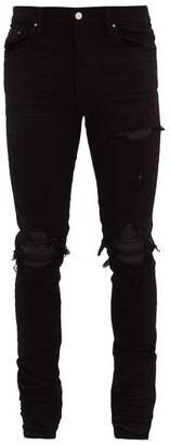Amiri Mx1 Leather Insert Distressed Jeans - Mens - Black