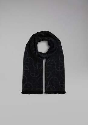 Giorgio Armani Wool Scarf With Logo Jacquard Design