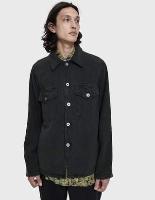 Our Legacy De Con Button Up Jacket in Mudd Black Heavy Noil