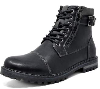 Andrew Marc BRUNO Bruno Marc Men's Engle-05 Black Motorcycle Combat Oxford Boots - 10 M US