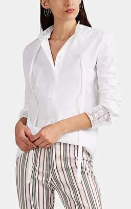J.W.Anderson Women's Eyelet-Trimmed Cotton Tieneck Button-Front Blouse - White