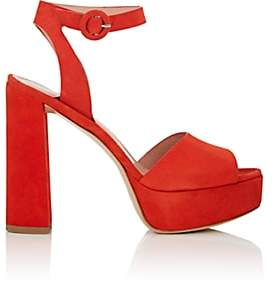 Barneys New York Women's Suede Platform Ankle-Strap Sandals - Red
