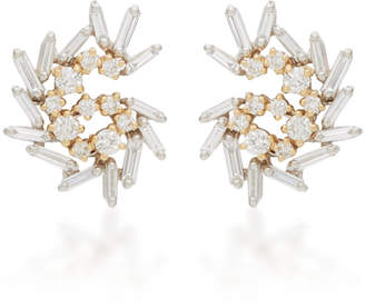 Suzanne Kalan 18K Yellow And White Gold Diamond Earrings