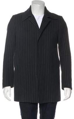 CNC Costume National Striped Notch-Lapel Overcoat