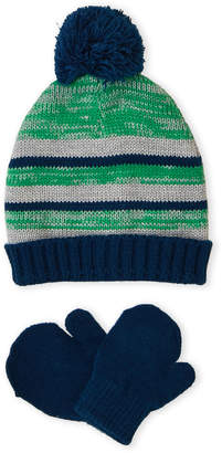 Laura Ashley Infant/Newborn) Two-Piece Striped Hat & Mittens Set
