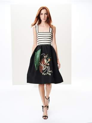 Oscar de la Renta Monkey Embroidered Silk-Faille Cocktail Dress