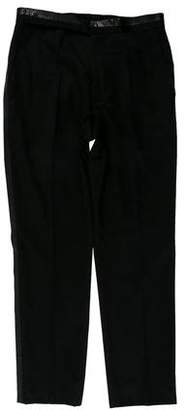 Gianni Versace Vintage Embossed Wool Tuxedo Pants