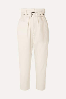 Brunello Cucinelli Belted Cropped Cotton-blend Straight-leg Pants - Cream