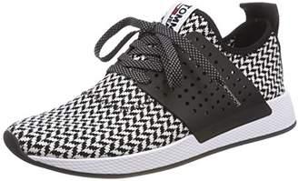 51c83163244a3b Tommy Jeans Hilfiger Denim Men s Check Knit Sneaker Low-Top (White-Black 904