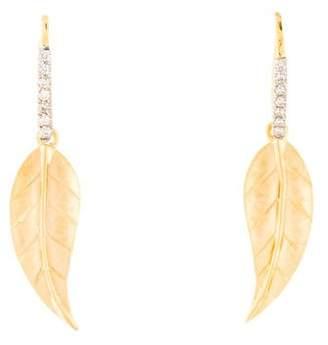 Reiss I. 14K Diamond Leaf Drop Earrings
