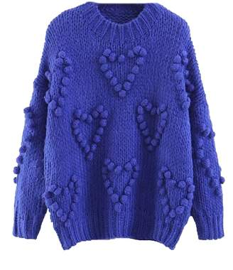 Goodnight Macaroon 'Floella' Heart Shaped Pom Pom Knitted Sweater (3 Colors)
