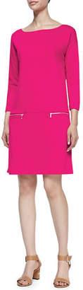 Joan Vass Knit Zip-Pocket Shift Dress, Petite