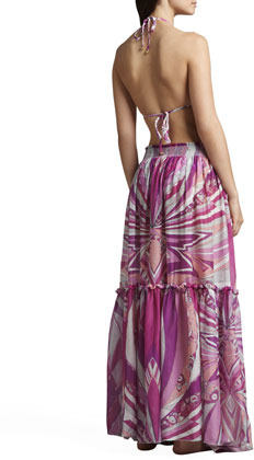 Emilio Pucci Tiered Printed Maxi Skirt Coverup