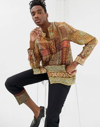 Asos Design DESIGN regular fit paisley border print shirt with grandad collar