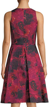 Tahari ASL Pleated Floral Basketweave A-Line Dress